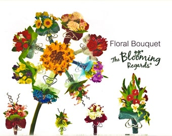 Miniature Polymer Clay Flowers Bouquets, assorted 10 bunches