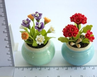 Miniature Polymer Clay Flowers Supplies in ceramic pot, set of 2 pieces