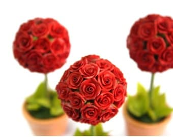 Miniature Roses Polymer Clay Flowers Supplies Topiary 2 pcs,