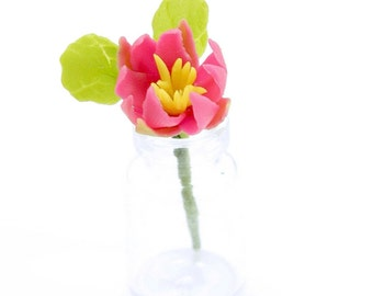 Pink Water Lily, Full Blossom, Mini Bouquet in clear glass bottle