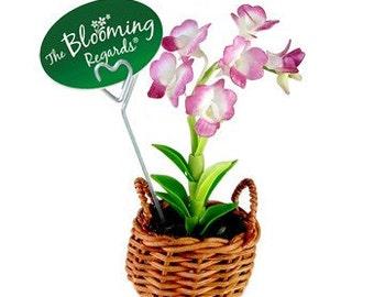 Miniature Polymer Clay Flowers Supplies Handmade Purple Orchids