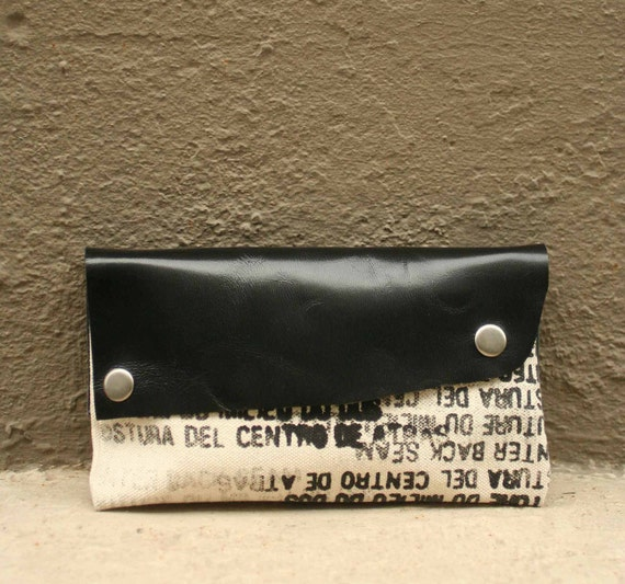 SALE Clutch Handbag - artists canvas - black leather - Ready to Ship