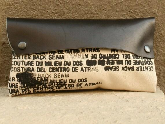summer SALE Clutch Handbag - Noir Leather and Artist's Canvas - Ready to Ship