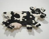 Black Cow Ceramic Tea Bag Holder