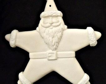 DIY Ornament - Ceramic Santa Ornament - Bisque