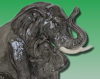 Nurturing Mother and Baby Elephant OOAK