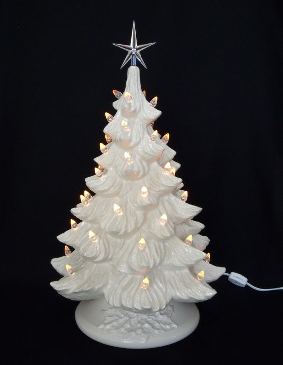 White Christmas Ceramic Christmas Tree 19 inches - Lights NOT Glued In