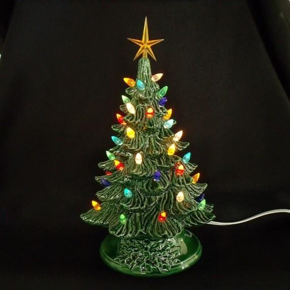 Vintage Ceramic Christmas Tree 11 Inches By Darkhorsestore