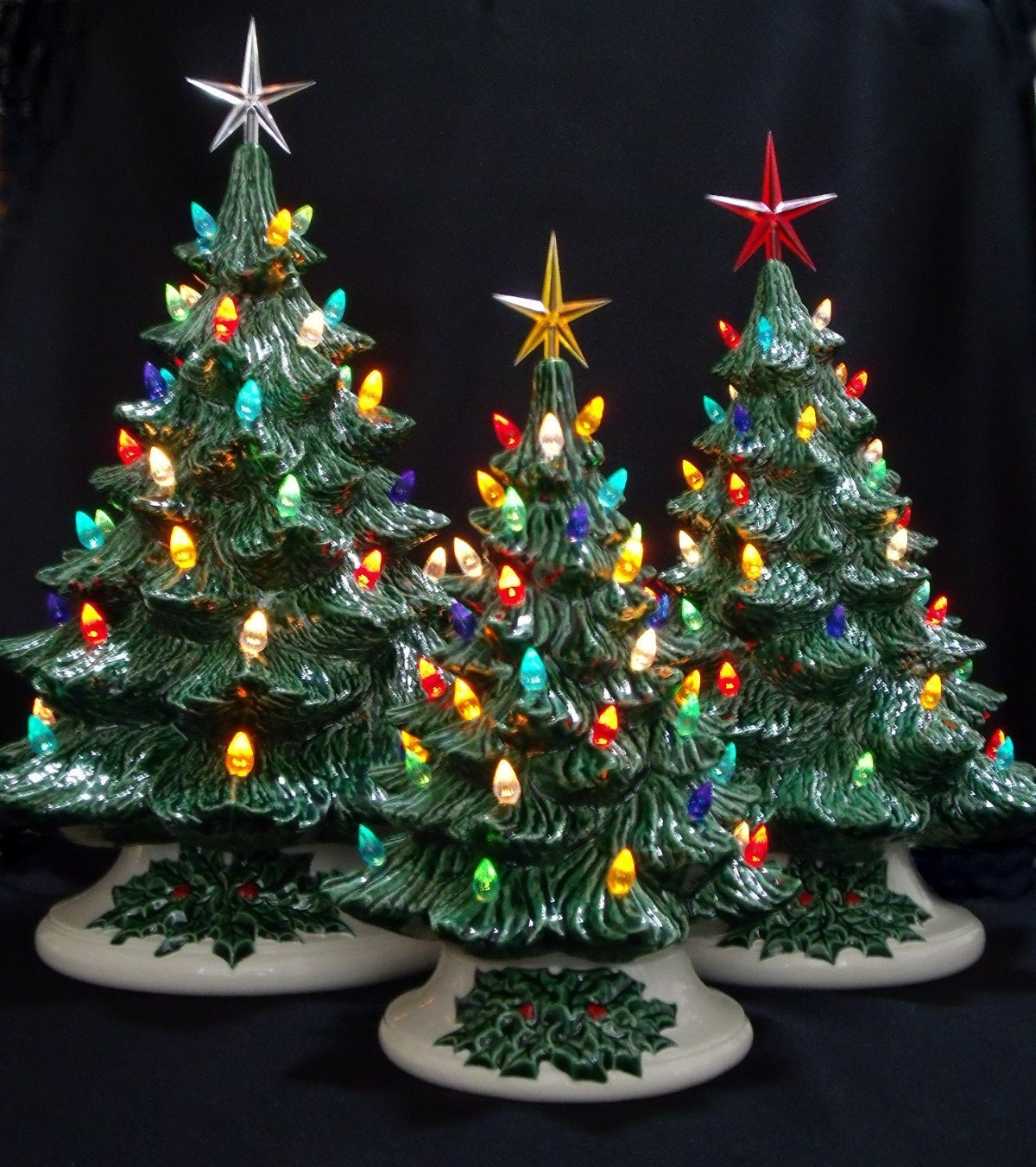Old Fashioned Ceramic Christmas Tree 3 Tree Collection