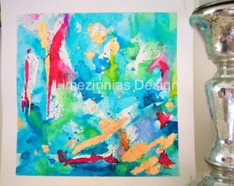 Blue Original Abstract Watercolor Painting, Abstract Painting, Aqua Blue, Aqua & Mint Fine Art,Abstract Wall Art