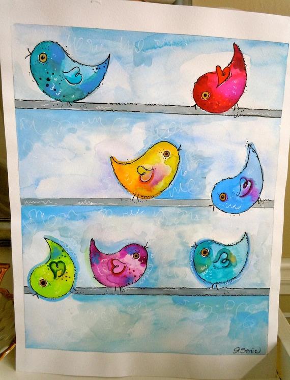 Bird Art Watercolor Original Painting