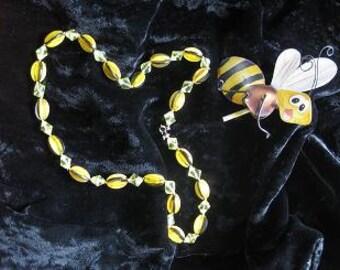 Yellow & Black Vintage Necklace