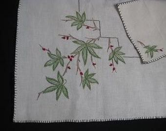 Vintage Tablecloth and 4 Napkins Hand-Embroidered