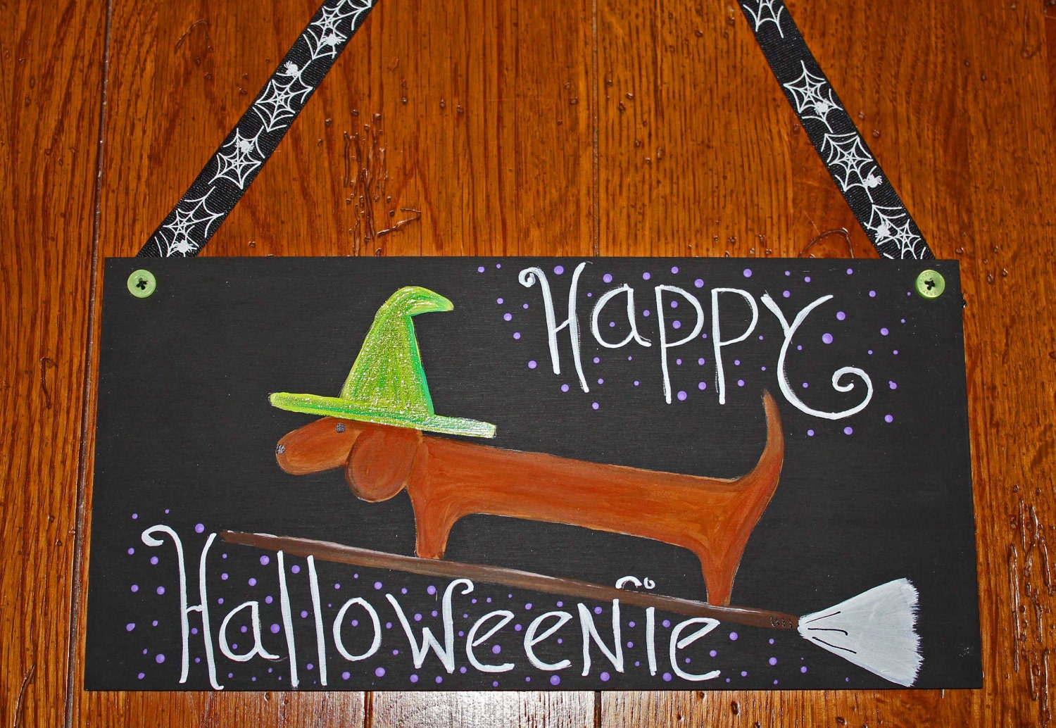 Halloween Dachshund Door Decoration Happy Halloweenie
