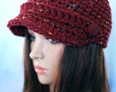 Maroon Hat - Unisex - with Visor, Strap and Button Red Cap Brim