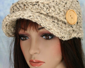 Hat - Oatmeal Colored with strap and button - UNISEX
