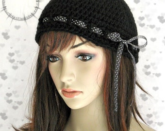 Black Cloche Hat with Black and White Ribbon Tie