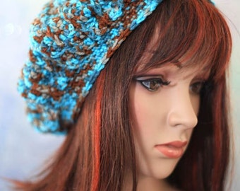 Hat - Slouch Beanie - Turquoise and Brown