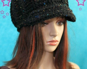 Hat with Brim - Black with Colorful Flecks