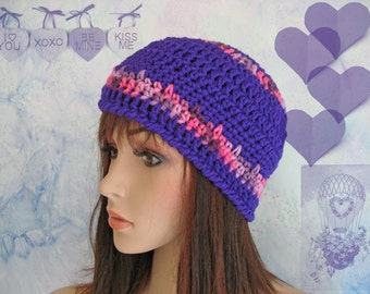 Purple Hat with variegated pink stripes