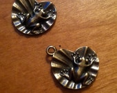 Set of 2 Frogs on Lily Pad Charms