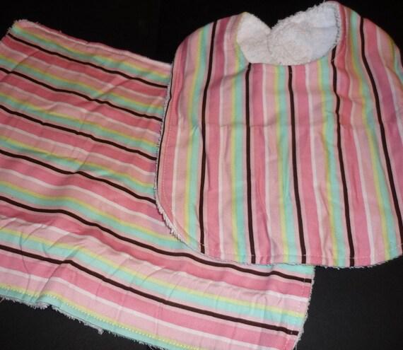 Personalized Embroidered Bib Burp Cloth Sets - Stripe Print