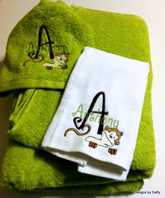 Personalized Hooded Bath Towel and Matching Burp Cloth Set