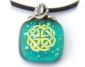 Celtic Knot Charm Pendant, Emerald Dichroic