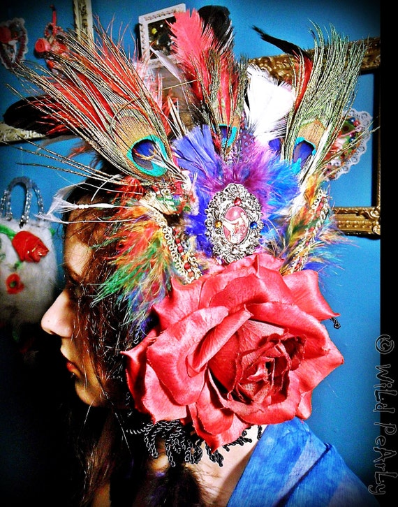 Burlesque Dancer colorful feather red rose and 3d glass cabochon headpiece FASCINATOR