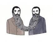 Beard Twins - Original Silkscreen Art Print
