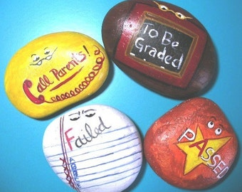 TEACHERS ROCK  Handpainted Paperweight Rock