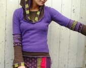 Reconstructed Multicoloured Hoodie Sweater Dress