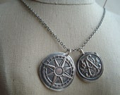 Compass and Love Letter Wax Seal Necklace