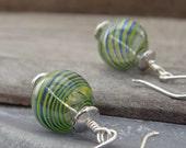 Blown Glass Sterling Silver Earrings Color Swirls