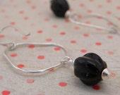 Clearance Earrings,black glass bead, sterling silver hoop, oversize earring, glossy black, sterling silver