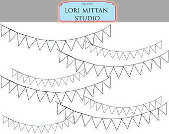 Blank Bunting Banner Flag Clip Art, Customizable Bunting Clip Art, Digital Files, for personal and commercial use