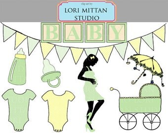 Neutral Baby Shower Clip Art, Green and Yellow Baby Clipart, Digital Files, for personal and commercial use