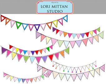 Rainbow with PINK Bunting Banner Clip Art, Flag Bunting Clipart, Birthday garland, Digital Files, for personal and commercial use