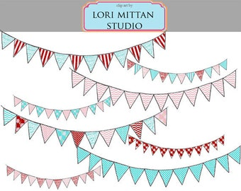 Vintage Shabby Chic Bunting Banner Digital Clip Art, Blue, Red, Pink Banner digital Clipart, Digital Files, for personal and commercial use