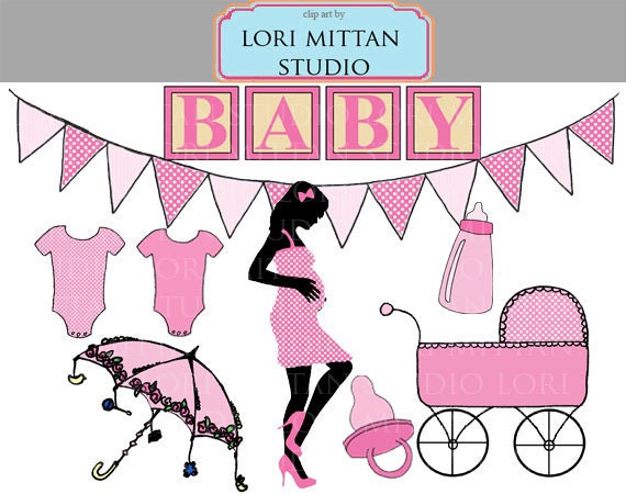 Items similar to Girl Baby Shower Clip Art, Pink Baby Clipart ...