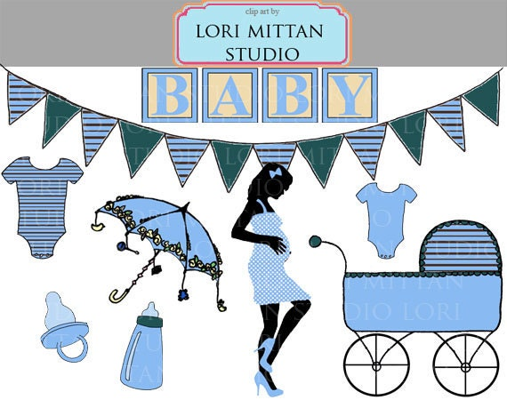 Items Similar To Boy Baby Shower Clip Art, Blue Baby Clipart, Digital  Files, For Personal And Commercial Use On Etsy