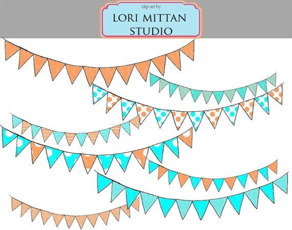Turquoise and Orange Bunting Banner Digital Clip Art, Banner digital Clipart, Digital Files, for personal and commercial use