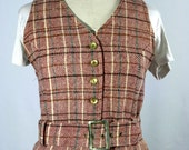 SALE 30% OFF 60s/70s AMAZING plaid wool maroon and brown belted vest