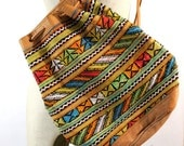 Native American Colorful Leather Backpack Purse