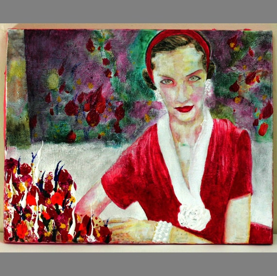 Original Painting of 1950s Woman By Aaron Bir