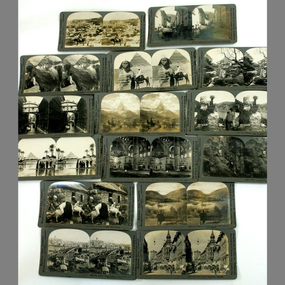 Antique Stereoviews 15 In Lot (Egypt, Nazareth, Germany, England, Switzerland, Venezuela, Japan)