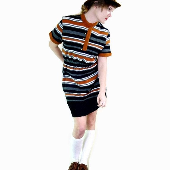 SALE 60s Striped Burnt Orange Grey Black And White Short Casual Day Dress
