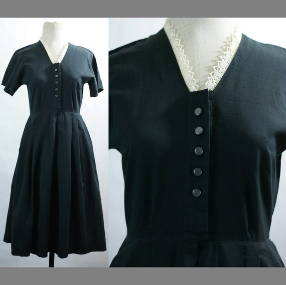 HOLD 40s/50s Crocheted Collar Black Cotton Day Dress