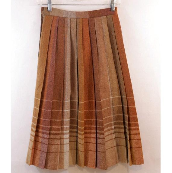 SALE Midi Wool Accordion Skirt / Brown Rainbow / Shin Length / Muave Brown Orange