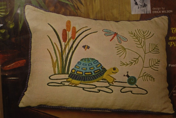 Vintage Erica Wilson Crewel Turtle and Snail Pillow Kit
